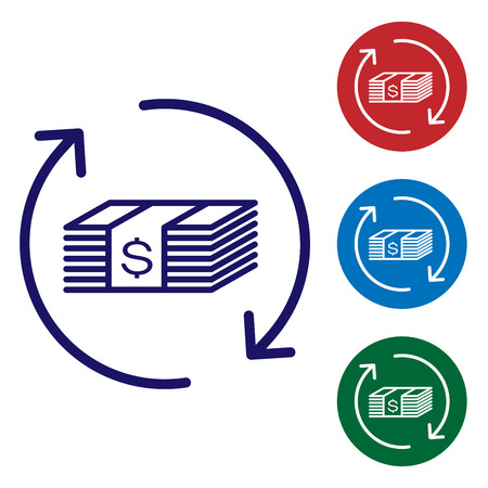 Blue Refund money icon isolated on white background. Financial services, cash back concept, money refund, return on investment, savings account. Set color icon in circle buttons. Vector Illustration