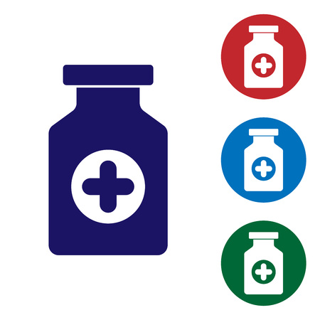 Blue Medicine bottle icon isolated on white background. Bottle pill sign. Pharmacy design. Set color icon in circle buttons. Vector Illustration
