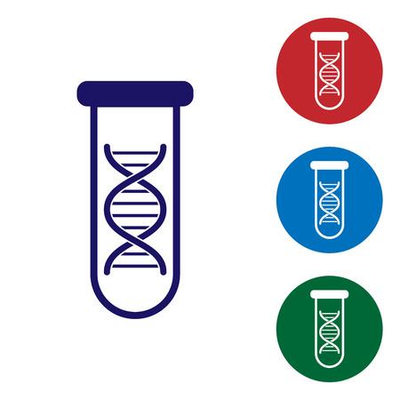 Blue DNA research, search icon isolated on white background. Genetic engineering, genetics testing, cloning, paternity testing. Set color icon in circle buttons. Vector Illustration