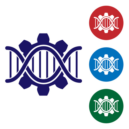 Blue Genetic engineering icon isolated on white background. DNA analysis, genetics testing, cloning, paternity testing. Set color icon in circle buttons. Vector Illustration Ilustração