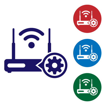 Blue Router and wi-fi signal and gear icon on white background. Adjusting app, service concept, setting options, maintenance, repair, fixing. Set color icon in circle buttons. Vector Illustration 写真素材 - 120563853