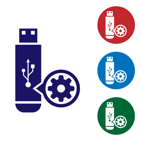 Blue USB flash drive and gear icon isolated on white background. Adjusting app, service concept, setting options, maintenance, repair, fixing. Set color icon in circle buttons. Vector Illustration