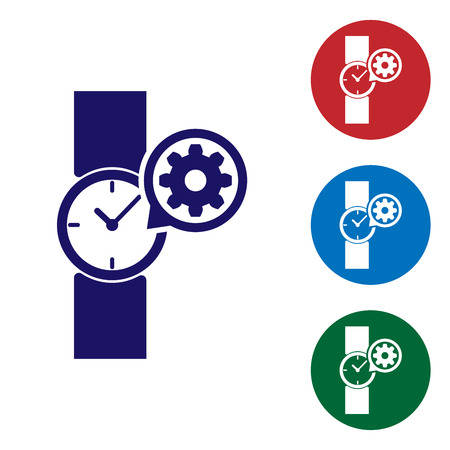Blue Wrist watch and gear icon isolated on white background. Adjusting app, service concept, setting options, maintenance, repair, fixing. Set color icon in circle buttons. Vector Illustration 向量圖像