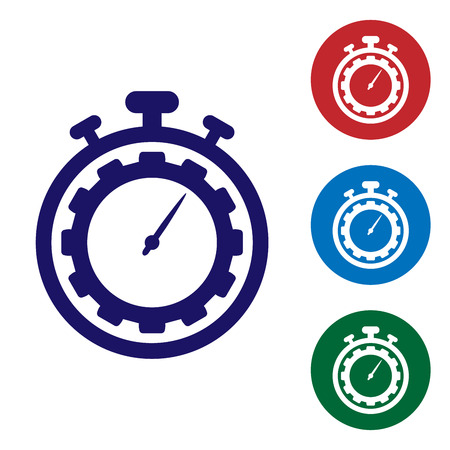 Blue Time Management icon isolated on white background. Clock and gear sign. Productivity symbol. Set color icon in circle buttons. Vector Illustration