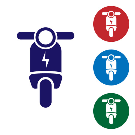 Blue Electric scooter icon isolated on white background. Set color icon in circle buttons. Vector Illustration
