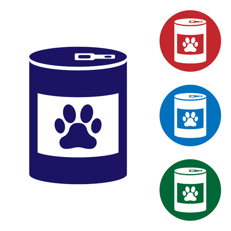 Blue Canned food icon isolated on white background. Food for animals. Pet food can. Dog or cat paw print. Set color icon in circle buttons. Vector Illustration