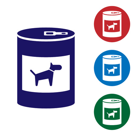 Blue Canned food for dog icon isolated on white background. Food for animals. Pet dog food can. Set color icon in circle buttons. Vector Illustration