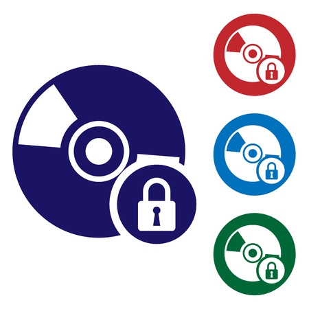 Blue CD or DVD disk with closed padlock icon isolated on white background. Compact disc sign. Security, safety, protection concept. Set color icon in circle buttons. Vector Illustration
