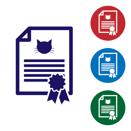 Blue Medical certificate for travel with dog or cat icon isolated on white background. Document for pet. Dog or cat paw print. Set color icon in circle buttons. Vector Illustration