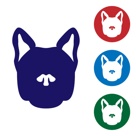 Blue Dog icon isolated on white background. Set color icon in circle buttons. Vector Illustration