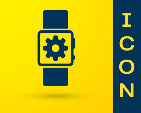 Blue Smartwatch setting icon isolated on yellow background. Smart watch settings. Vector Illustration