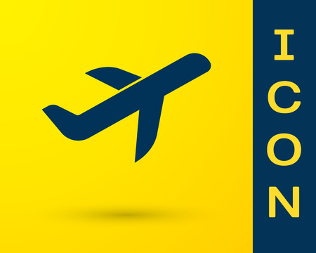 Blue Plane icon isolated on yellow background. Flying airplane icon. Airliner sign. Vector Illustration