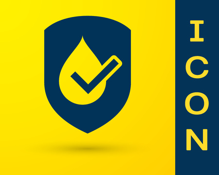 Blue Waterproof icon isolated on yellow background. Water resistant or liquid protection concept. Vector Illustration