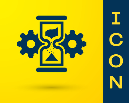 Blue Hourglass and gear icon isolated on yellow background. Time Management symbol. Clock and gear icon. Business concept. Vector Illustration Stock Illustratie