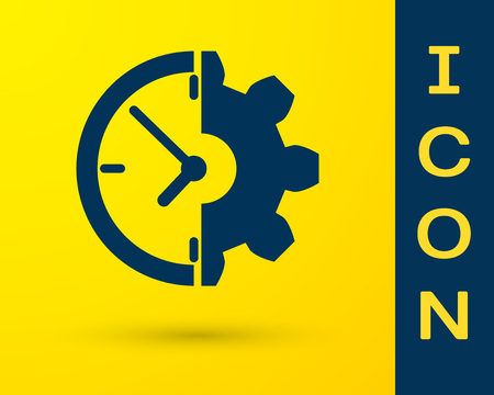 Blue Clock and gear icon isolated on yellow background. Time Management symbol. Business concept. Vector Illustration Stock Illustratie