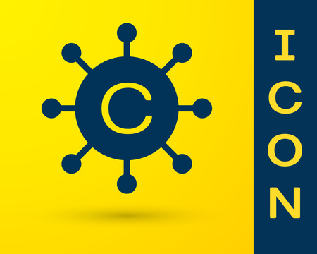Blue Copywriting network icon isolated on yellow background. Content networking symbol. Copyright sign. Copywriting network sign. Vector Illustration