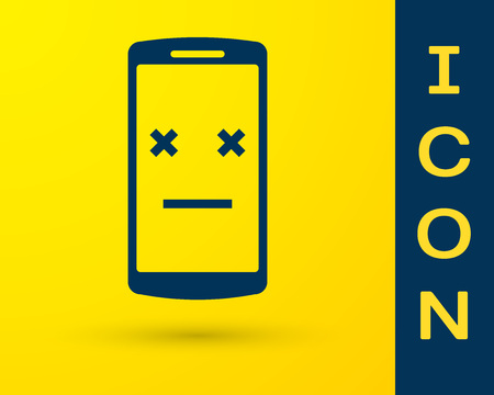 Blue Dead phone icon isolated on yellow background. Deceased digital device emoji symbol. Corpse smartphone showing facial emotion. Vector Illustration