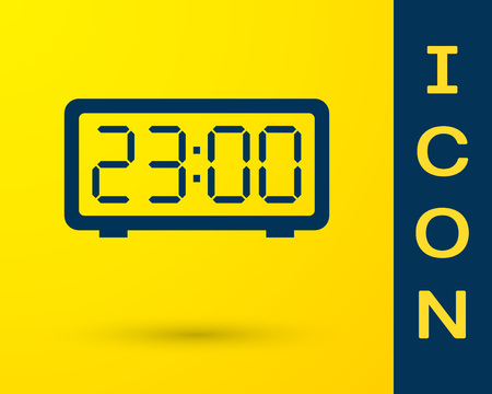 Blue Digital alarm clock icon isolated on yellow background. Electronic watch alarm clock. Time icon. Vector Illustration  イラスト・ベクター素材