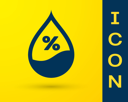 Blue Water drop percentage icon isolated on yellow background. Humidity analysis. Vector Illustration