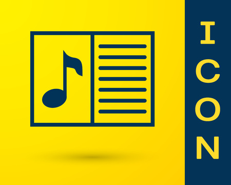 Blue Music book with note icon isolated on yellow background. Music sheet with note stave. Notebook for musical notes. Vector Illustration