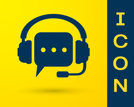 Blue Headphones with speech bubble icon on yellow background. Support customer services, hotline, call center, guideline, faq, maintenance, assistance. Vector Illustration