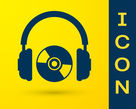 Blue Headphones and CD or DVD icon isolated on yellow background. Earphone sign. Compact disk symbol. Vector Illustration Illustration