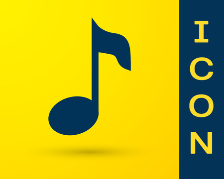Blue Music note, tone icon isolated on yellow background. Vector Illustration Vectores
