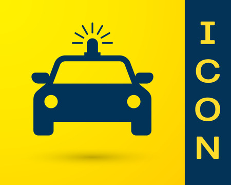 Blue Police car and police flasher icon isolated on yellow background. Emergency flashing siren. Vector Illustration Ilustração