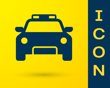 Blue Police car and police flasher icon isolated on yellow background. Emergency flashing siren. Vector Illustration Illustration