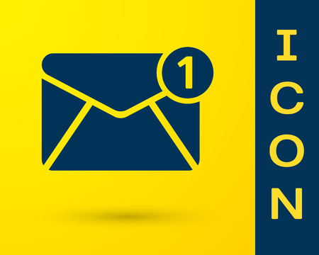Blue Envelope icon isolated on yellow background. Received message concept. New, email incoming message, sms. Mail delivery service. Vector Illustration  イラスト・ベクター素材