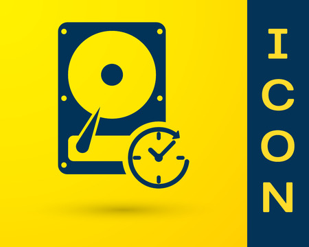 Blue Hard disk drive with clockwise sign, data recovery icon isolated on yellow background. Vector Illustration
