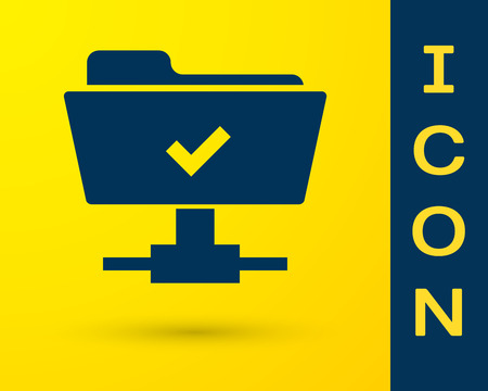 Blue FTP operation successful icon on yellow background. Concept of software update, transfer protocol, teamwork tool management, copy process. Vector Illustration Çizim