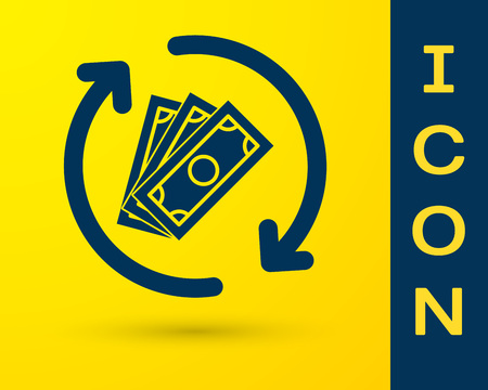 Blue Refund money icon isolated on yellow background. Financial services, cash back concept, money refund, return on investment, savings account. Vector Illustration