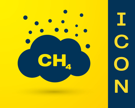 Blue Methane emissions reduction icon isolated on yellow background. CH4 molecule model and chemical formula. Marsh gas. Natural gas. Vector Illustration