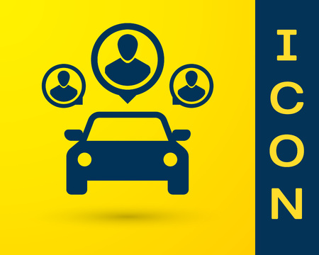Blue Car sharing with group of people icon isolated on yellow background. Carsharing sign. Transport renting service concept. Vector Illustration