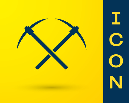 Blue Crossed pickaxe icon isolated on yellow background. Blockchain technology, cryptocurrency mining, bitcoin, altcoins, digital money market. Vector Illustration Vectores