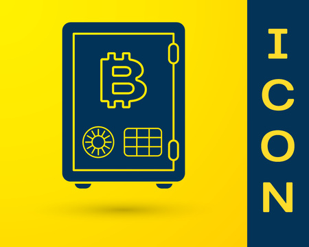 Blue Proof of stake icon isolated on yellow background. Cryptocurrency economy and finance collection. Vector Illustration Çizim
