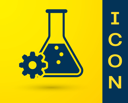 Blue Bioengineering icon isolated on yellow background. Element of genetics and bioengineering icon. Biology, molecule, chemical icon. Vector Illustration Banque d'images - 120587757