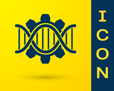 Blue Genetic engineering icon isolated on yellow background. DNA analysis, genetics testing, cloning, paternity testing. Vector Illustration Иллюстрация