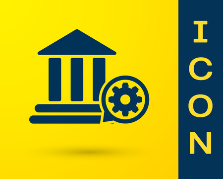 Blue Bank building and gear icon isolated on yellow background. Adjusting app, service concept, setting options, maintenance, repair, fixing. Vector Illustration