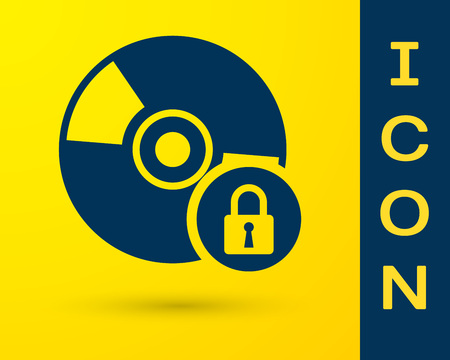 Blue CD or DVD disk with closed padlock icon isolated on yellow background. Compact disc sign. Security, safety, protection concept. Vector Illustration
