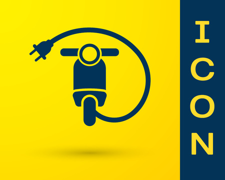 Blue Electric scooter icon isolated on yellow background. Vector Illustration
