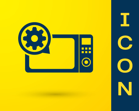 Blue Microwave oven and gear icon isolated on yellow background. Adjusting app, service concept, setting options, maintenance, repair, fixing. Vector Illustration