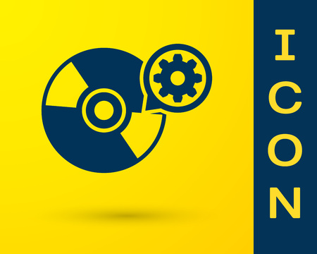 Blue CD or DVD disk and gear icon isolated on yellow background. Adjusting app, service concept, setting options, maintenance, repair, fixing. Vector Illustration