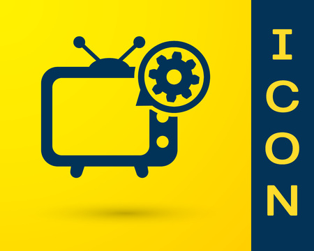 Blue Tv and gear icon isolated on yellow background. Television service concept. Adjusting app, setting options, maintenance, repair, fixing. Vector Illustration