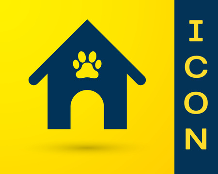 Blue Dog house and paw print pet icon isolated on yellow background. Dog kennel. Vector Illustration