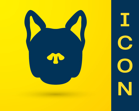 Blue Dog icon isolated on yellow background. Vector Illustration