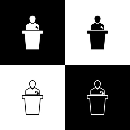 Set Speaker icons isolated on black and white background. Orator speaking from tribune. Public speech. Person on podium. Line, outline and linear icon. Vector Illustration