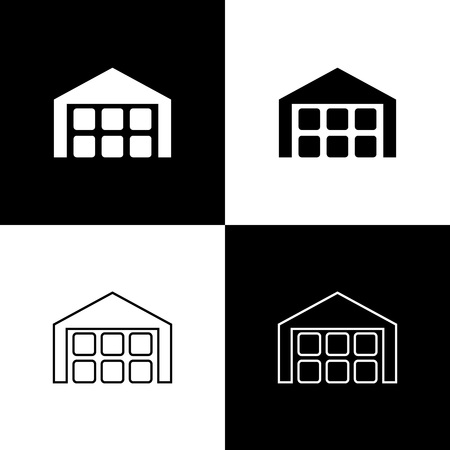 Set Warehouse icons isolated on black and white background. Line, outline and linear icon. Vector Illustration Illustration