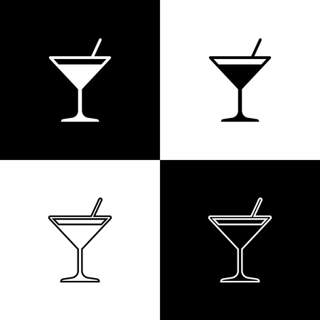 Set Martini glass icons isolated on black and white background. Cocktail icon. Wine glass icon. Line, outline and linear icon. Vector Illustration Illustration